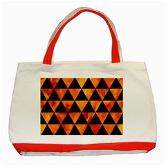 Triangle3 Black Marble & Fire Classic Tote Bag (red)