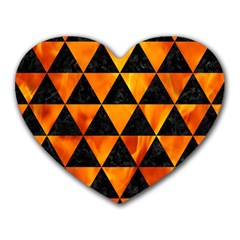 Triangle3 Black Marble & Fire Heart Mousepads