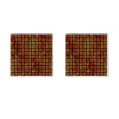 Woven1 Black Marble & Fire Cufflinks (square)