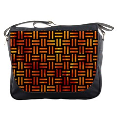 Woven1 Black Marble & Fire Messenger Bags