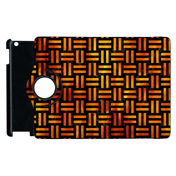 WOVEN1 BLACK MARBLE & FIRE Apple iPad 3/4 Flip 360 Case