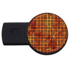 Woven1 Black Marble & Fire (r) Usb Flash Drive Round (4 Gb)