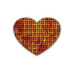 Woven1 Black Marble & Fire (r) Rubber Coaster (heart)