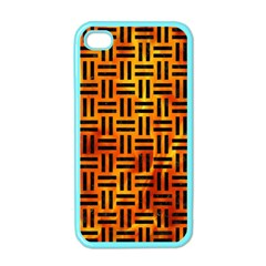 Woven1 Black Marble & Fire (r) Apple Iphone 4 Case (color)