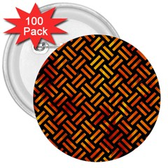 Woven2 Black Marble & Fire 3  Buttons (100 Pack)