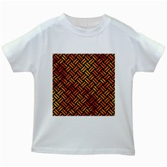 Woven2 Black Marble & Fire Kids White T Shirts