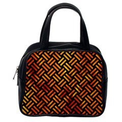Woven2 Black Marble & Fire Classic Handbags (one Side)