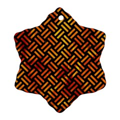 Woven2 Black Marble & Fire Snowflake Ornament (two Sides)
