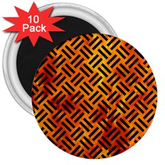 Woven2 Black Marble & Fire (r) 3  Magnets (10 Pack)