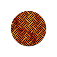 Woven2 Black Marble & Fire (r) Rubber Round Coaster (4 Pack)