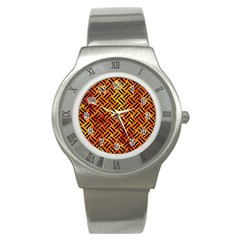 Woven2 Black Marble & Fire (r) Stainless Steel Watch