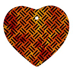 Woven2 Black Marble & Fire (r) Heart Ornament (two Sides)