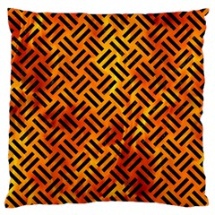 Woven2 Black Marble & Fire (r) Large Flano Cushion Case (two Sides)