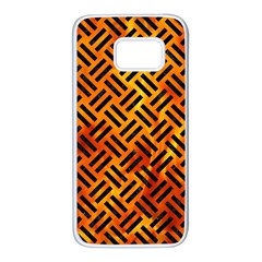 Woven2 Black Marble & Fire (r) Samsung Galaxy S7 White Seamless Case