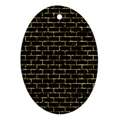 Brick1 Black Marble & Gold Foil Oval Ornament (two Sides)
