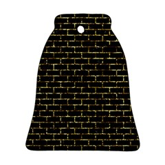 Brick1 Black Marble & Gold Foil Bell Ornament (two Sides)