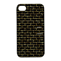 Brick1 Black Marble & Gold Foil Apple Iphone 4/4s Hardshell Case With Stand