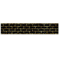 Brick1 Black Marble & Gold Foil Flano Scarf (large)