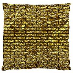 Brick1 Black Marble & Gold Foil (r) Large Cushion Case (one Side)