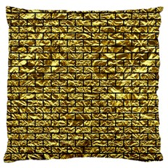 Brick1 Black Marble & Gold Foil (r) Large Flano Cushion Case (one Side)