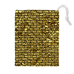 Brick1 Black Marble & Gold Foil (r) Drawstring Pouches (extra Large)