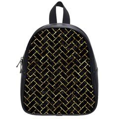 Brick2 Black Marble & Gold Foil School Bag (small)