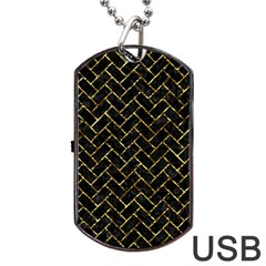 Brick2 Black Marble & Gold Foil Dog Tag Usb Flash (one Side)