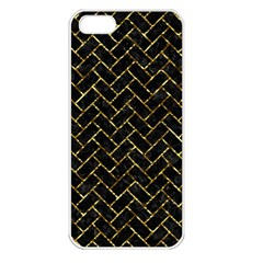 Brick2 Black Marble & Gold Foil Apple Iphone 5 Seamless Case (white)