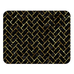 Brick2 Black Marble & Gold Foil Double Sided Flano Blanket (large)