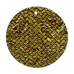 Brick2 Black Marble & Gold Foil (r) Ornament (round)