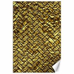Brick2 Black Marble & Gold Foil (r) Canvas 24  X 36