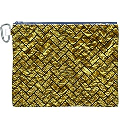 Brick2 Black Marble & Gold Foil (r) Canvas Cosmetic Bag (xxxl)
