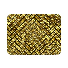 Brick2 Black Marble & Gold Foil (r) Double Sided Flano Blanket (mini)