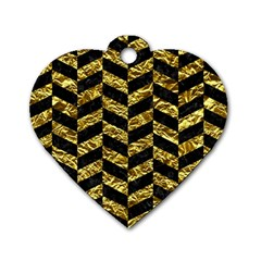 Chevron1 Black Marble & Gold Foil Dog Tag Heart (one Side)