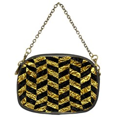 Chevron1 Black Marble & Gold Foil Chain Purses (one Side)