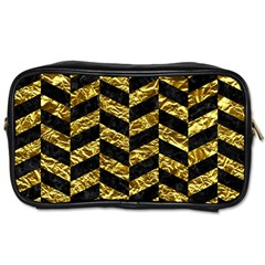 Chevron1 Black Marble & Gold Foil Toiletries Bags