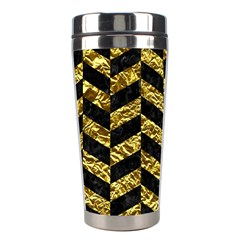 Chevron1 Black Marble & Gold Foil Stainless Steel Travel Tumblers