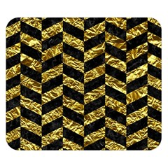 Chevron1 Black Marble & Gold Foil Double Sided Flano Blanket (small)