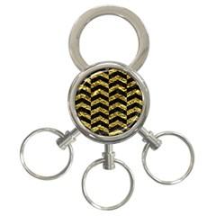 Chevron2 Black Marble & Gold Foil 3 Ring Key Chains