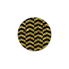 Chevron2 Black Marble & Gold Foil Golf Ball Marker