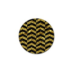 Chevron2 Black Marble & Gold Foil Golf Ball Marker (10 Pack)