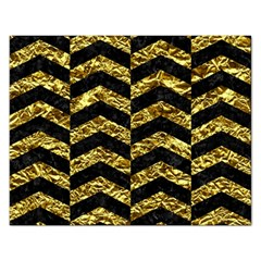 Chevron2 Black Marble & Gold Foil Rectangular Jigsaw Puzzl