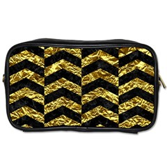 Chevron2 Black Marble & Gold Foil Toiletries Bags