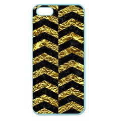 Chevron2 Black Marble & Gold Foil Apple Seamless Iphone 5 Case (color)