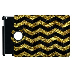 Chevron3 Black Marble & Gold Foil Apple Ipad 2 Flip 360 Case