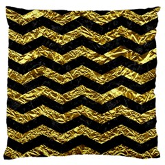 Chevron3 Black Marble & Gold Foil Large Flano Cushion Case (one Side)