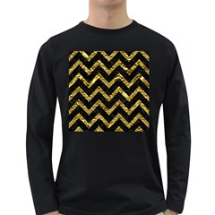 Chevron9 Black Marble & Gold Foil Long Sleeve Dark T Shirts