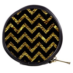 Chevron9 Black Marble & Gold Foil Mini Makeup Bags
