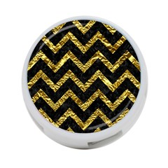 Chevron9 Black Marble & Gold Foil 4 Port Usb Hub (one Side)