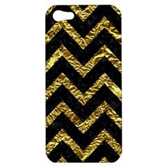 Chevron9 Black Marble & Gold Foil Apple Iphone 5 Hardshell Case